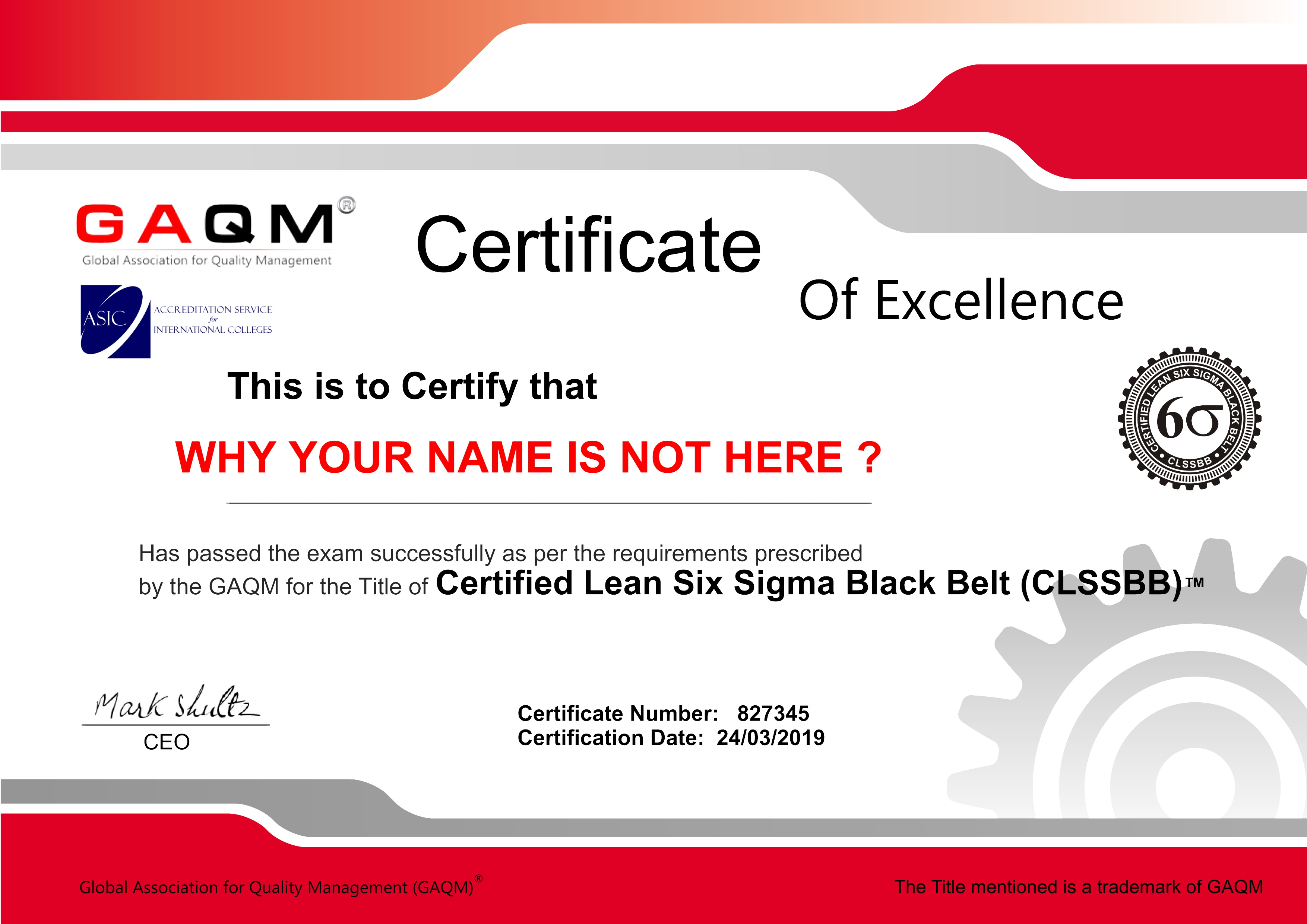 Lean Six Sigma Black Belt (CLSSBB) without training and without exam, only with certwizard.com
